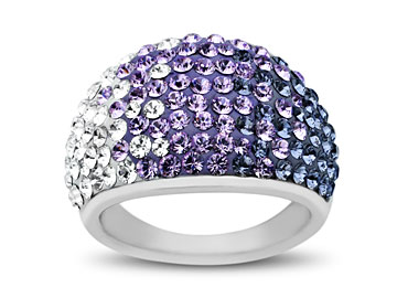 Purple-Lavender-White Fade Swarovski Crystal Ring in Sterling Silver