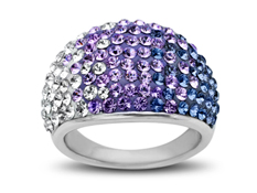 Ring with Purple-Lavender-White Fade Swarovski Crystal in Sterling Silver