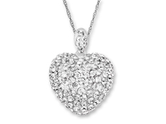 Heart Pendant with Swarovski Crystal in Sterling Silver
