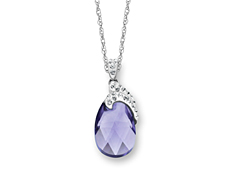Pendant with Lavender Swarovski Crystal in Sterling Silver