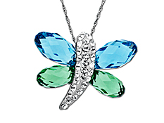 Dragonfly Pendant with Sky and Meadow Swarovski Crystal in Sterling Silver