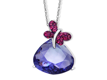 Butterfly Pendant with Lavender and Rose Swarovski Crystal in Sterling Silver