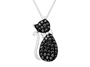 Cat Pendant with Black Swarovski Crystal in Sterling Silver