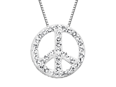 Peace Pendant with White Swarovski Crystal in Sterling Silver