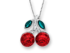 Cherry Pendant with Red and Forest Swarovski Crystal in Sterling Silver
