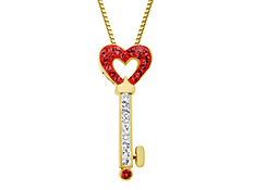Heart-Key Pendant with Crimson Swarovski Crystal in 18K gold over Sterling Silver