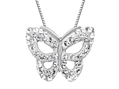 Butterfly Pendant with Swarovski Crystal in Sterling Silver
