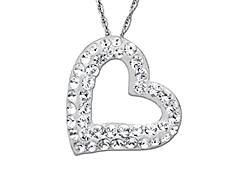 Heart Pendant with White Swarovski Crystal in Sterling Silver