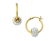 Hoop Earrings with Swarovski Crystal Bead in 18K Gold over Sterling Silver
