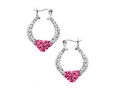 Heart Hoop Earrings with Rose and Clear Swarovski Crystal in Sterling Silver