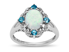 Opal Ring with Swiss Blue Topaz and Diamonds in Sterling Silver