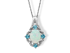Opal and Blue Topaz Pendant with Diamonds in Sterling Silver