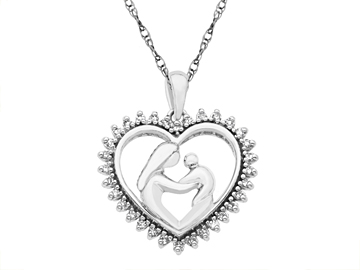 1/4 ct Diamond Mother's Jewel Pendant in Sterling Silver