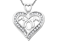 'Mom' Pendant with 1/4 ct Diamonds in Sterling Silver