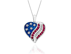 Ruby and 1/6 ct Diamond Heart Flag Pendant in Sterling Silver