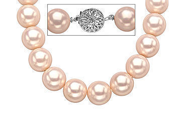 18-Inch 11mm Rose Shell Pearl Strand Necklace with Sterling Silver Clasp from Jewelry.com