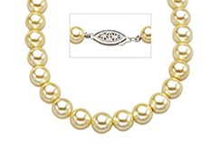 18-inch 7mm Golden Shell Pearl Strand with Sterling Silver Clasp