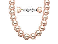 9 mm Rose Shell Pearl Strand Necklace with Sterling Silver Clasp