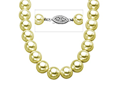 9 mm Golden Shell Pearl Strand Necklace with Sterling Silver Clasp