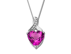 Pink Sapphire Heart Pendant with Diamond in Sterling Silver