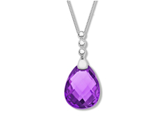 8 1/2 ct Amethyst and White Sapphire Pendant in Sterling Silver