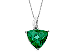 5 ct Green Quartz Pendant with Diamonds in Sterling Silver