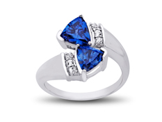 2 ct Sapphire and White Topaz Ring in Sterling Silver