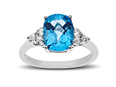 3 1/3 ct Swiss Blue and White Topaz Ring in Sterling Silver