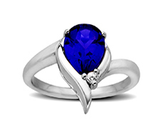 2 5/8 ct Sapphire and White Topaz Ring in Sterling Silver