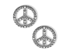 Peace Sign Earrings with Diamonds in Sterling Silver