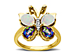 Mystic Green Topaz and Opal Butterfly Ring with Diamonds in 14K Gold Over Silver