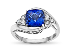 Sapphire Ring with Diamonds in Sterling Silver