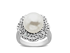 Ring with Swarovski Crystal in Sterling Silver - Size 7