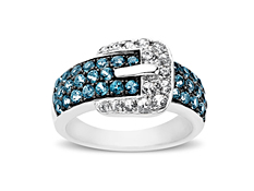 Paraiba Blue Topaz Buckle Ring in Sterling Silver