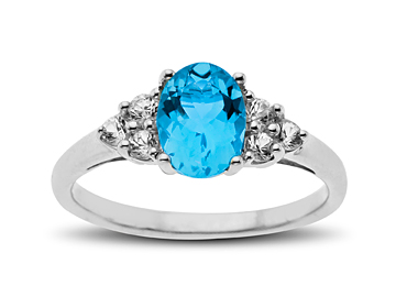 1 3/4 ct Blue Topaz and White Sapphire Ring in Sterling Silver