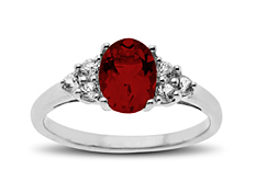 1 3/4 ct Garnet and White Sapphire Ring in Sterling Silver