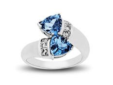 2 3/4 ct Blue and White Topaz Ring in Sterling Silver