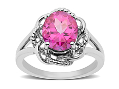 3 1/2 ct Pink Sapphire Cable Ring in Sterling Silver