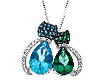 Paraiba Blue and Rainforest Green Topaz Cat Pendant Necklace in Sterling Silver