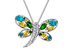 Rainbow Topaz Dragonfly Pendant in Sterling Silver
