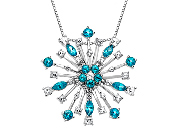 Large Paraiba Blue Topaz Snowflake Pendant in Sterling Silver from Jewelry.com