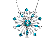 Large Paraiba Blue Topaz Snowflake Pendant in Sterling Silver