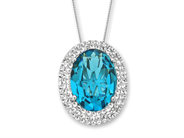 Sterling Silver Pendant Necklace with 12 ct Deep Blue Swarovski Crystal