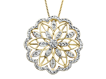 Medallion Pendant with 1 carat Swarovski Crystal in Gold over Sterling Silver