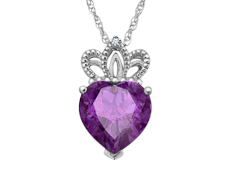 2 1/4 ct Amethyst Crowned Heart Pendant