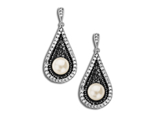 5.5 mm Pearl and 5/8 ct Black and White Diamond Earrings in Sterling Silver