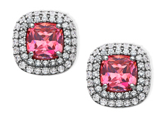 4 ct Pink and White Cubic Zirconia Stud Earrings in Sterling Silver