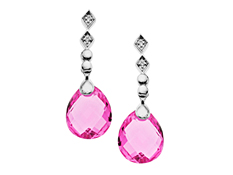 9 3/4 ct Rose Mystic Topaz Drop Earrings with Diamonds in Sterling Silver