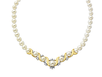 6mm Pearl and White Sapphire Necklace in 14K Gold over Sterling Silver