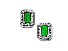 Emerald Earrings in Sterling Silver